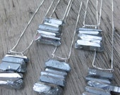 metallic silver STACKED titanium coated crystals sterling silver necklace