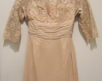 1950s Blush Pink Lace & Chiffon Dress