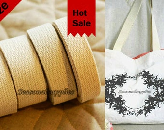 Cotton Webbing - Natural Beige - Heavy Weight for Key Fobs, Purse Straps, Belting, Bag handle, 4 size for choice (T40)