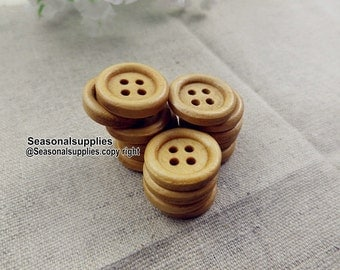 zakka Buttons,Wooden buttons,Nature Style,Round,15mm Diameter -(6 in a set)(FN71)