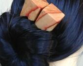 Cubic Hair forks in Flame Box Elder Wood