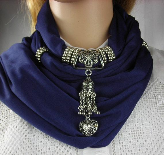Scarf with Jewelry -  Jewelry Scarf - Heart Pendant -  necklace scarf  Pendant Scarf NAVY