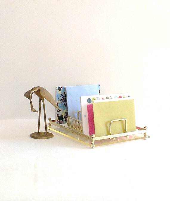 Lucite and brass tray desk organizer vintage office vanity - Acrylic desk organizer set ...