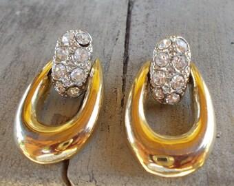 Rhinestone Door Knocker Hoop Earrings