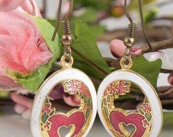 Enamel Heart Earrings