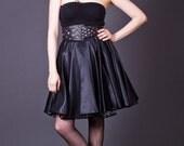 SALE 50% OFF 90s Vintage Black Satin Circle Skirt with Crinoline