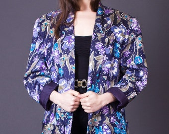 SALE 50% OFF 80s Vintage Floral Print Linen Boyfriend Blazer