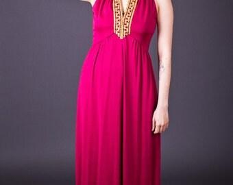 SALE 50% OFF 70s Vintage Jewel Trimmed Maxi Dress in Magenta