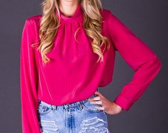 SALE 50% OFF 80s Vintage Hot Pink Secretary Blouse