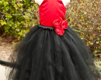 Flower Girl Tutu Dress Floor Length Sewn Tutu Dress Black and Red with Satin Corset and Satin Flower Hair Clip CUSTOMIZABLE