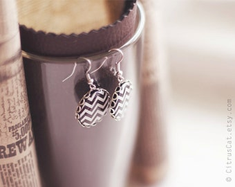 Chocolate brown chevron earrings, geometric jewelry, chevron jewelry, brown earring, retro jewelry