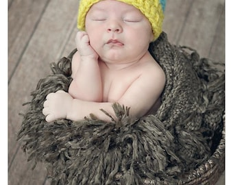 Newborn Chunky Blue and Yellow Two Tone Crochet Hat With Natural Wood Button Photo Prop
