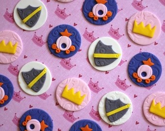 Princess and Knights-Themed Fondant Toppers - Great for Cupcakes, Brownies, Cookies and More