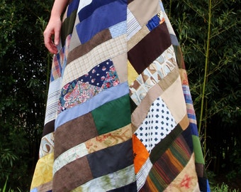 long patchwork skirt - Archive 12 :  handmade hippie patchwork scraps, vintage, eco, hand dyed, organic, hemp fabrics LIMITED EDITION