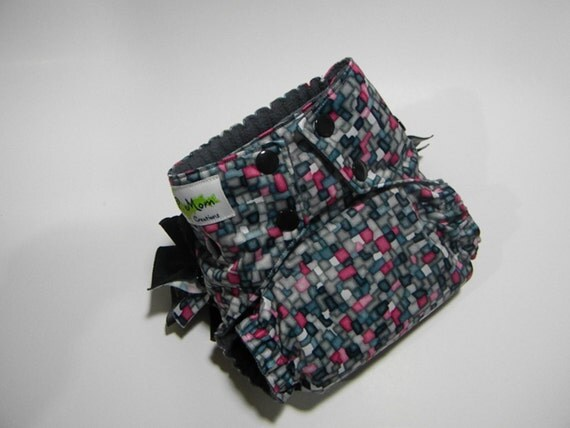 CLEARANCE SALE - Pink Mosaic One-Size Pocket Diaper with Removable Ruffles