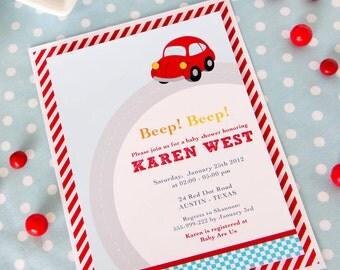 DIY PRINTABLE Invitation Card - Vintage Red Racing Car Baby Shower Invitation - BS807CA1a1