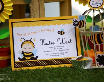 DIY PRINTABLE Invitation Card - Baby Bumble Bee Birthday Party - PS816CB1a1