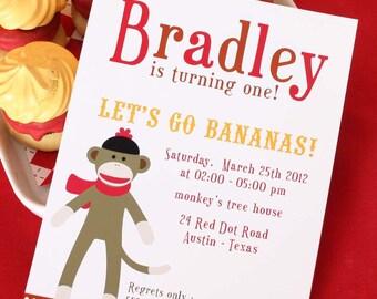 DIY PRINTABLE Invitation Card - Sock Monkey Birthday Party - PS819CA1a1