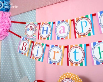 Candy Land Lollipop Birthday Party - DIY PRINTABLE Happy Birthday Banner - Instant Download - design by venspaperie - PS832CA1e