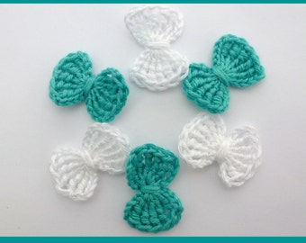 SALE Crochet bows, Crochet appliques, 6 small applique bows, cardmaking, scrapbooking, appliques , craft embellishments, sewing accessories.