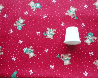 SALE :) teddy bear christmas novelty print cotton fabric -- 45 wide by 2/3 yard