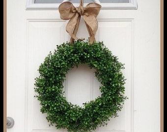 Boxwood Wreath - Round Boxwood - Wreaths - Door Hanger -  Everyday Front Door Wreath - Choose Color Burlap Ribbon