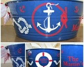 Preppy Nautical Bowl/Tote with Anchor, Kisby Ring and Monogram