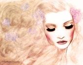 Beauty Fashion Illustration Mixed Media Fine Art Print