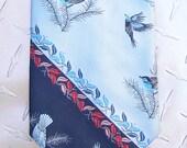 BKool Vintage Don Loper Tie, Blue Birds n Leaves on Navy & Light Blue, Mens Ties, Excellent Cond.