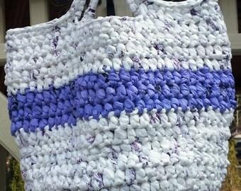 White Tote Bag, Lavendar Purse, Crochet Bag, Lavendar Bag, White Spring Purse, Market Bag, Handmade Bag, Crocheted Purse, Ecofriendly Gift