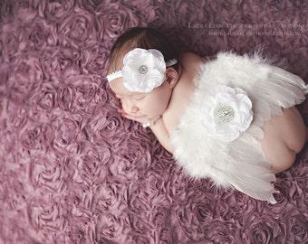 Newborn Angel Wings & Headband Set - Angelic White Feather Headband Wings Set - Newborn Photo Prop Wings