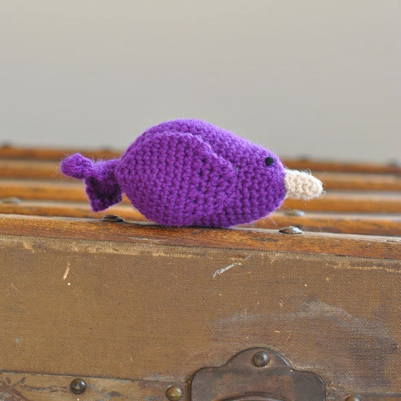 SALE Plush Bird - Bright Purple Crochet Toy - Colorful Bird Made With Natural Fibers