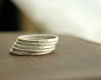 "Stacking Ring Sterling Silver ONE Ring Simple Band Modern Minimal Solid sterling silver--""Stacked"""