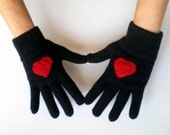 Black Gloves with Crochet Red Heart, Women Gloves - fizzaccessory