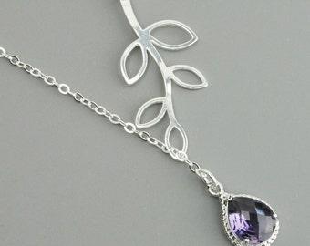 Purple Necklace - Sterling Silver Leaf Branch Necklace - Dark Purple Amethyst Pendant Necklace - Bridesmaid Necklace - Lariat Necklace