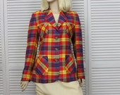 Vintage Escada Linen Plaid Jacket Red  by Margaretha Ley Size Small