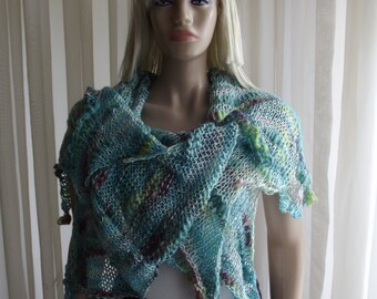 Just Tie 3 - Hand Knit Shawl / Knit Capelet / Knit Vest / Knit Top / Hoodie / Wedding Shawl / HAND PAINTED Yarn / Versatile / 50% OFF !!!