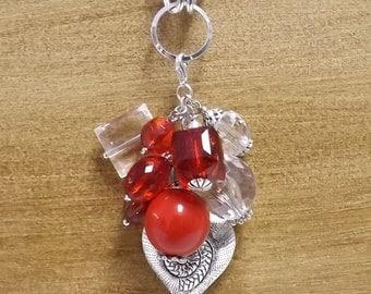 Charms Be Mine  - Chunky Bead Necklace Charm Cluster, Bead Necklace, Beaded Charm Necklace, Charm Necklace, Beaded Necklace