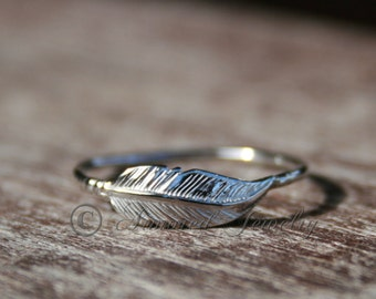 Feather Ring, Sterling silver Feather, Indian Inspired, Native American, Stacking Stacker ring, Dainty feather ring, silver statement ring