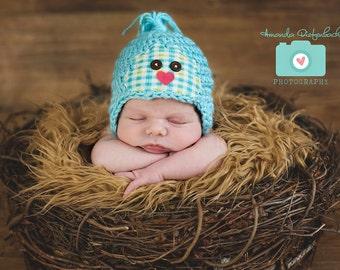 Newborn Blue Bird Hat - Photography Prop