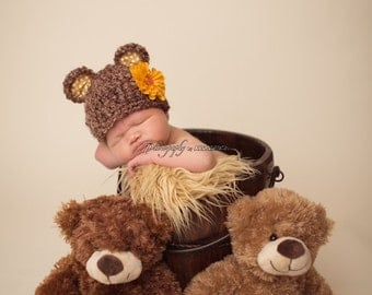 Baby Bear Hat - Photography Prop - Baby Girl or Baby Boy