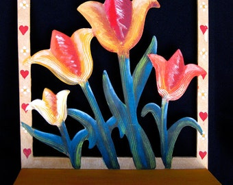 GOLDEN BLOOMING TULIPS, A Pegged Hand Painted Hanging Decorated Wooden Shelf Ready To Hang and Use!