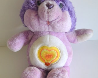 Vintage Original Care Bears Cousin Stuffed Plush Bright Heart Raccoon Soft Toy Purple. 1984 1980s 80s cartoon tv show movie collectible