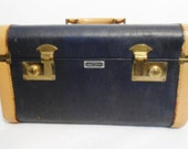 Mid Century Navy Blue and Tan TRAIN CASE Carry On Small Luggage with Mirror - Cosmetic Make Up