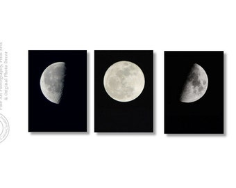 Moon Phases Print Set First Quarter Moon, Last Quarter Moon, Supermoon, Set of three Phases of the Moon set of Moon Prints