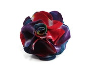 Colorful Red, Blue, and Purple Tie Dye Tshirt Flower Pin/Barrette