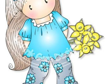 Digital (Digi) Chloe with Daffodils Stamp - Birthday, Mothers Day, Spring, Easter