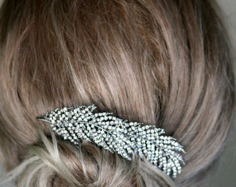 Bridal Hair Comb, Double Feather , Peacock Feather, Crystal comb, Hair Accessories, Wedding , Swarovski Hair Brooch