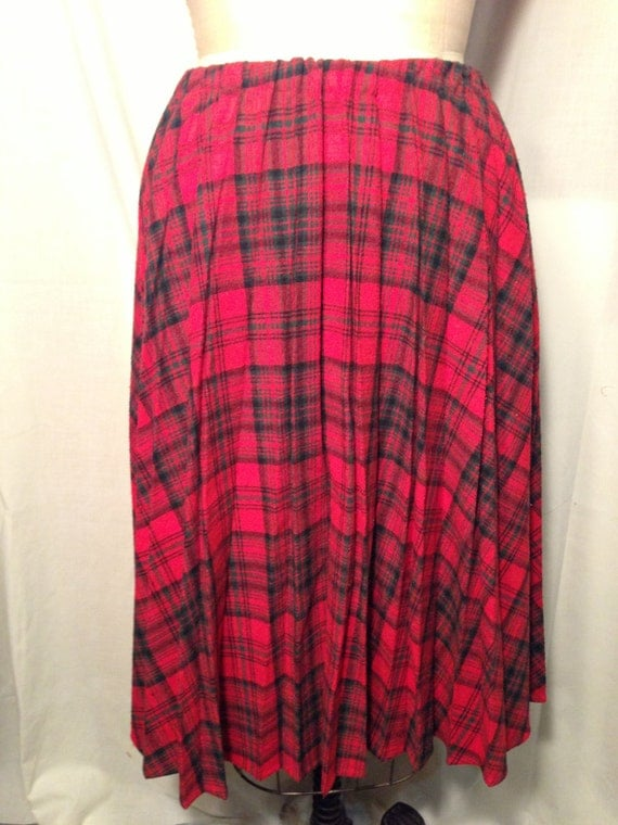 Vintage Long Red Plaid Pleated Skirt b6