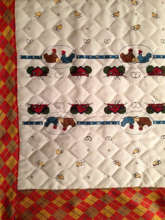 Vintage 70s Quilted Chickens Lap Quilt Throw Blanket Sale